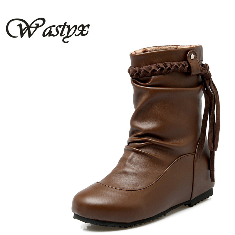 Wastyx women boots Height Increasing Winter Spring Boots New Fashion mid calf Boots flock Fringe Tassel Boot Woman size 34-52 fashion women s mid calf boots with tassel and cross straps design