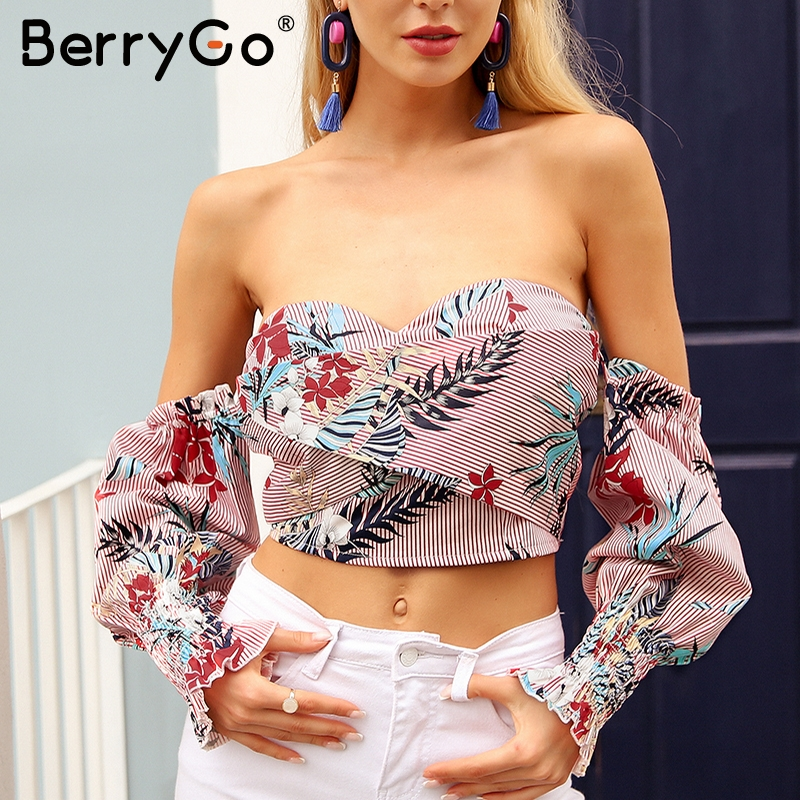 BerryGo Strapless off shoulder sexy blouse shirt Women vintage print mini shirt tops tees Summer casual ruffle blusas shirt 2018