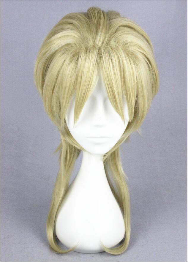 Anime JoJo's Bizarre Adventure Dio Brando Cosplay Wig 45cm Blonde Medium Heat Resistant Synthetic Hair Wigs + Wig Cap