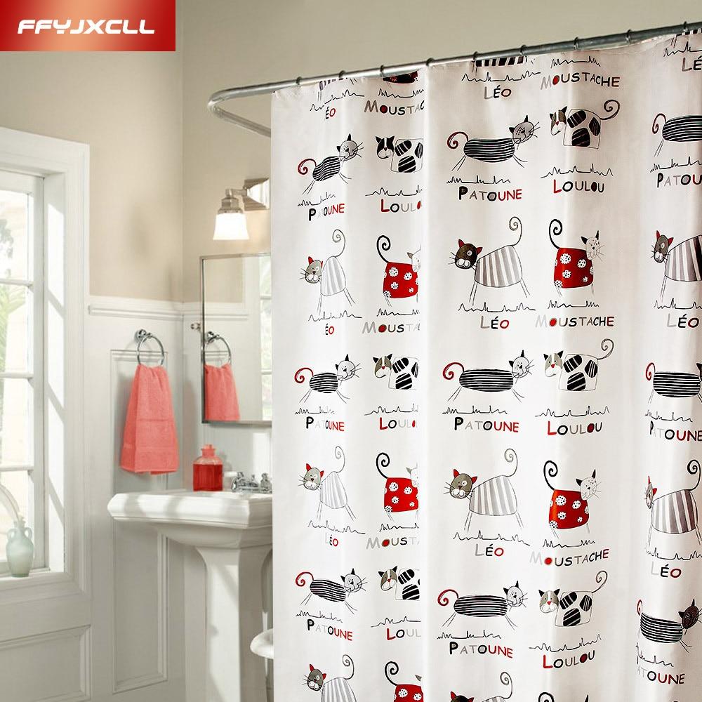 Cute Cartoon Cat Thickening Bathroom Shower Curtain Waterproof Polyester Fabric Bath Curtain Cortina 12 Hooks