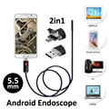 2016 Nova 2em1 Android Endoscópio USB Câmera de 5.5mm 2 M/5 M Borescope USB OTG Telefone Inteligente Android inspeção Serpente Tubo Camera