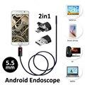 2016 Nueva 2en1 USB Androide Cámara Endoscopio 5.5mm 2 M/5 M Boroscopio USB OTG Teléfono Inteligente Android Tubo de la Serpiente Cámara de inspección