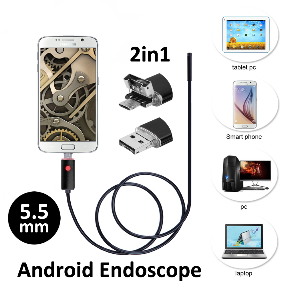 2in1 Android OTG Snake USB Endoscope Camera 5.5mm 2M/5M Smart Android Phone OTG USB Borescope Inspection Snake Tube Camera 2m android otg usb endoscope camera 7mm lens ip67 waterproof snake tube inspection android phone pc usb dection borescope camera