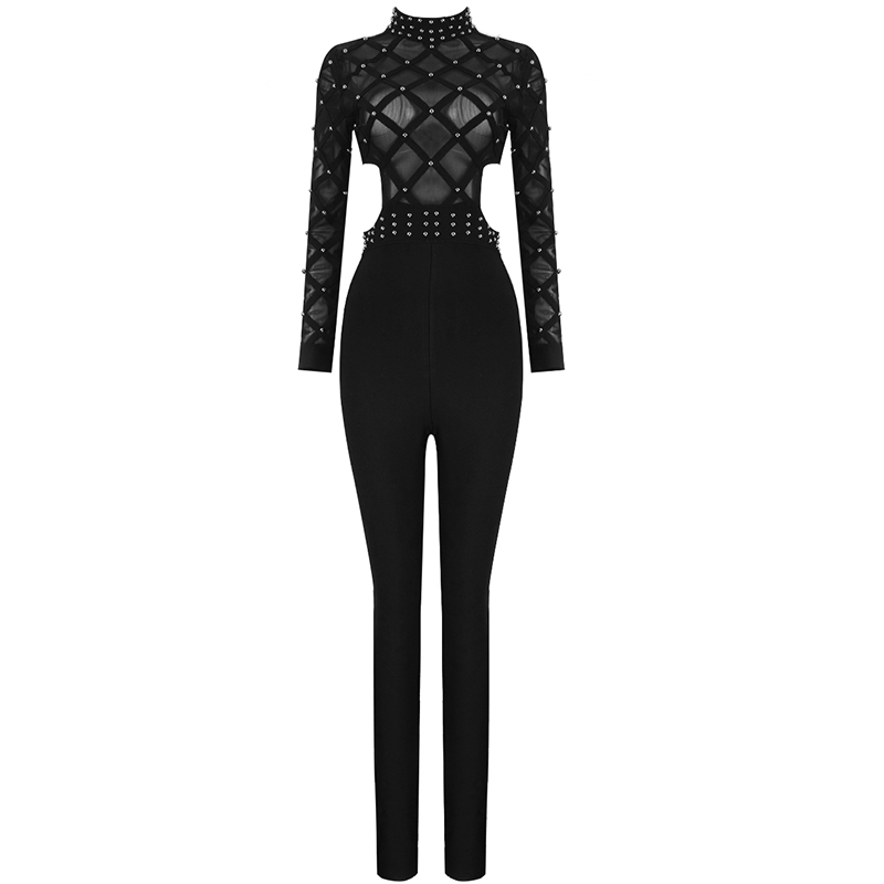 New Designer Sext Perspective Bead Party Jumpsuits Elegant Long Sleeve Striped Cross Lady Bosysuit Long Skinny Bandage Jumpsuit - 2