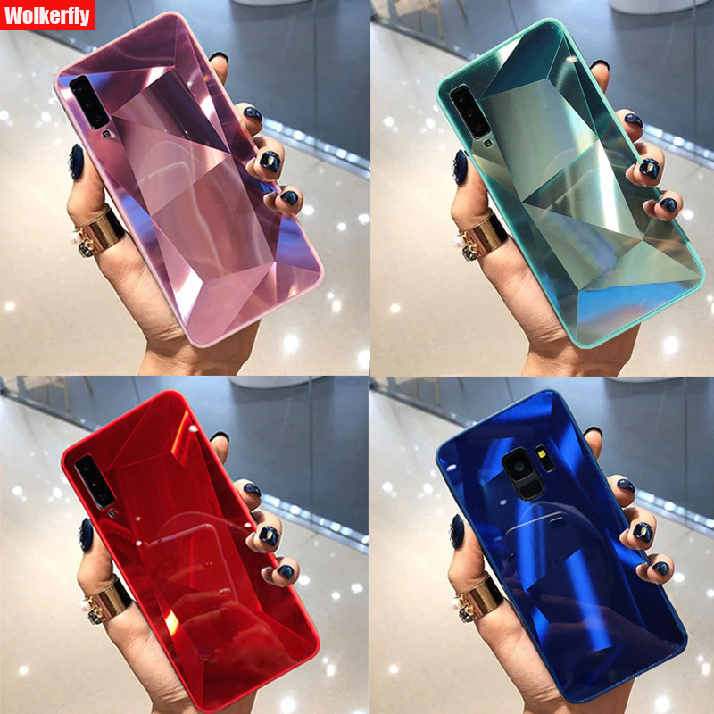 mirror 3d diamond back <font><b>cover</b></font> for <font><b>huawei</b></font> p20 pro p30 lite p smart y9 y6 <font><b>y7</b></font> pro <font><b>2019</b></font> mate 10 20 lite honor 10i <font><b>case</b></font> coque fundas image