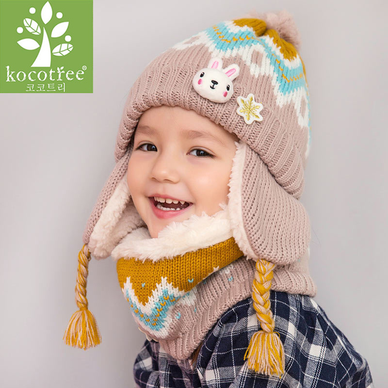Image 3 - Kocotree/2018 г., 2 шт./лот, детская зимняя шапка и шарф для детей от 3 до 6 лет, милый теплый модный костюм с шапочкой-in Мужская Skullies & шапочки from Аксессуары для одежды on AliExpress - 11.11_Double 11_Singles' Day