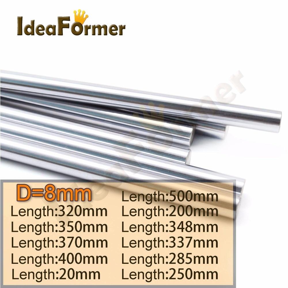 2pcs Diameter 8mm Linear Shaft 8mm For Shaft LM8UU 8mm Linear Ball Bearing Length 200/250/300/320/350/400/500mm Stainless Steel