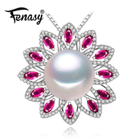 FENASY 925 sterling silver pendants natural Pearl necklace , Ruby beryl jewelry charm party necklace women pendant for lovers