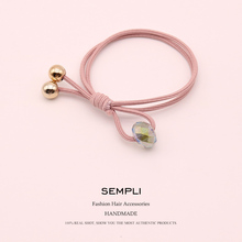 Sempli Crystal Beads Nylon High Elastic Rubber Band For Womens and Kids Plastic Gold Korean Style Women Hair Accessories