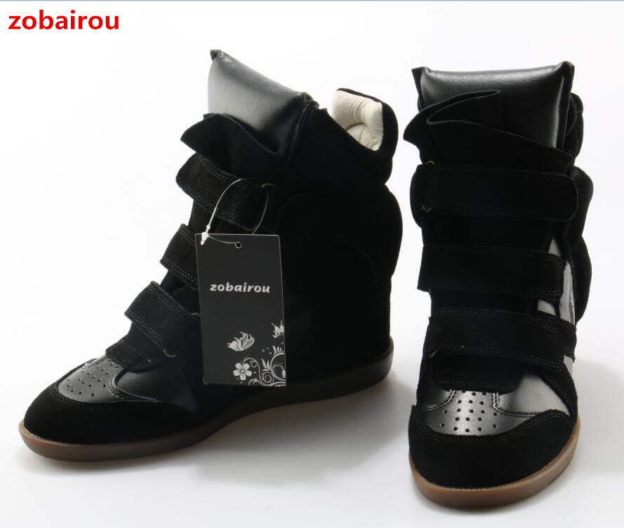 Zobairou Autumn Winter Brand Design Women Ankle Boots Fashion Height Increasing Casual Shoes Leather Women Motorcycle Boots 2017
