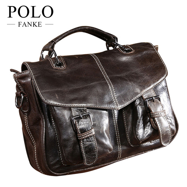 Fashion On Hands! Large Capacity Men s Handbags Oil Wax Genuine Leather Messenger  Bag Brand Top 9b0c7315a8
