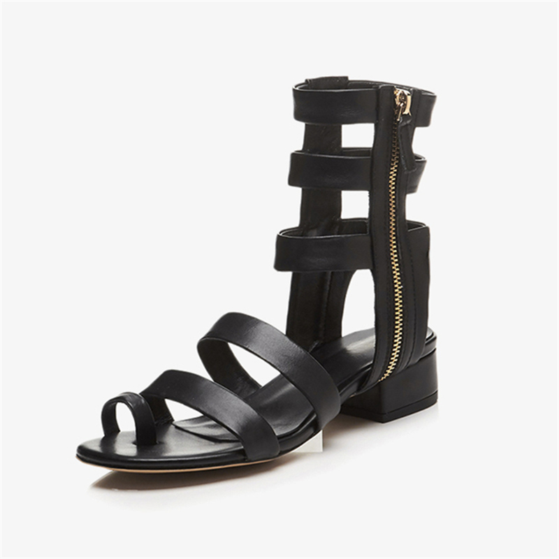 e1860fe45b76 ... Black Square Heels Shoes Zip Low Thong Sandals Heels Chunky Women  Narrow Woman 2018 Gladiator Choo ...