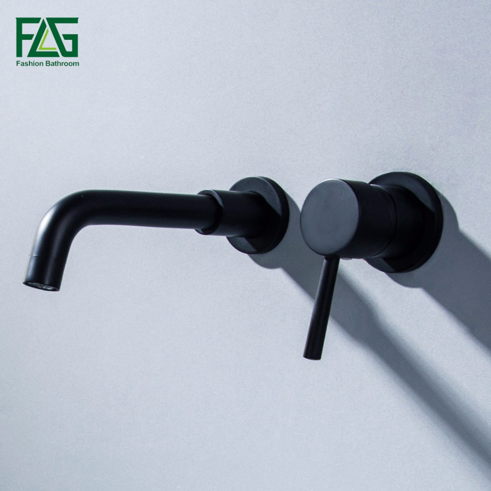 Basin Faucet Black Brass Wall Mounted Single Handle Sink Faucet Flexible Spout Hot Cold Bathroom Water Mixer Tap free shipping concealed installation black color basin faucet hot and cold water wall mounted basin faucet bf999a