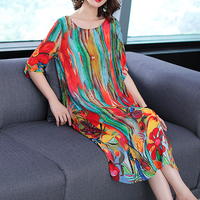 Fall 2018 womens clothing natural silk dresses size plus dress striped summer elegant noble party dress robe midi print floral