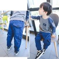 2017 Autumn New Baby Boys Cargo Pants Solid Pockets Design Fashion Kids Trousers Children S Cotton