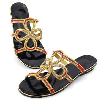 doershow RED,guaranteed quality African sandals for party,beautiful ladies shoes!!DD1-74