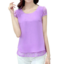 Summer Sexy Women Tops Crochet Lace Floral Shoulder Sleeve Loose Chiffon Blouses Female Shirts
