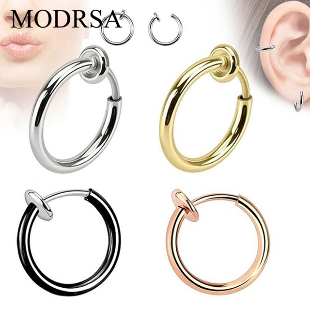 MODRSA 2pcs Fake Earrings Hoop Non-pierced Nose Ring Stainless Steel Women Lip Ear Clip on Body Jewelry Faux Septum Clicker 1