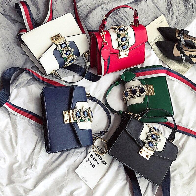 Luxury Diamond Design Women Handbag New Fashion Messenger Bag Brand Leather Bags Female Shoulder Bag Multi-color Shoulder Straps