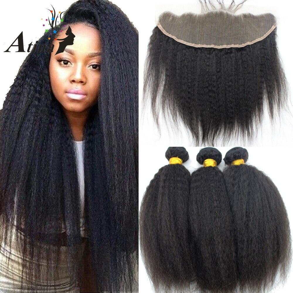 Haarsalon Versorgungskette Funmi 3 Bundles Mongolischen Afro Verworrenes Lockiges Haar Mit Verschluss 100% Reines Menschenhaar Bundles Mit Spitze Schließung Für Haar Salon