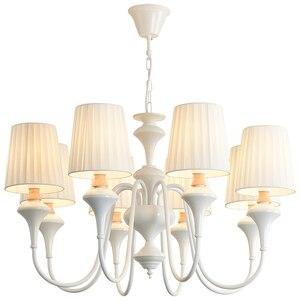 Image 5 - BOTIMI Bắc Âu LED Đèn Chùm Với Chụp Đèn Vải Bố Cho Phòng Khách Xanh Đèn Chùm Ánh Sáng Màu Trắng Hiện Đại Đèn Treo Phòng Ngủ
