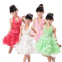 От 4 до 10 лет 2016 летняя мода Шифон большие девочки туту сетки Танец малышей платья одежда