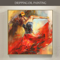 Top Artist Hand painted High Quality Impressionist Flamenco Dancer Oil Painting on Canvas Flamenco Dancer Portrait Oil Painting