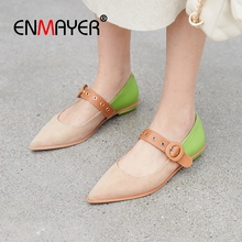 ENMAYER 2019 Women Genuine Leather Basic Casual  Shoes New Arrival  Mixed Colors  Pointed Toe  Spring/Autumn Size 34-40 LY2414