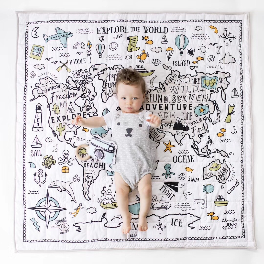 Children's Rug Room New Decoration World Adventure Map Mat Baby Play Game Crawling Puzzle Mat Air Conditioning Blanket Kids Toys