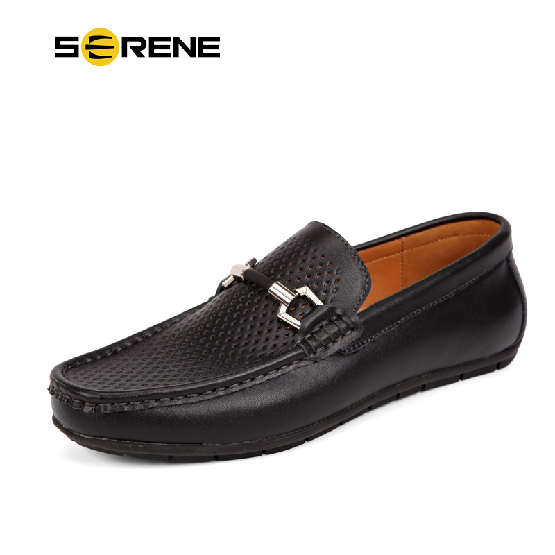 SERENE Brand Men Shoes 2017 Men Loafers Summer Men's Casual Leather Bean Shoes Sapatos Masculino Comfort Driving Shoes #5209 2017 new flats men shoes zip round toe leather men loafers shoes fashion brand outdoor shoes casual sapatos masculino