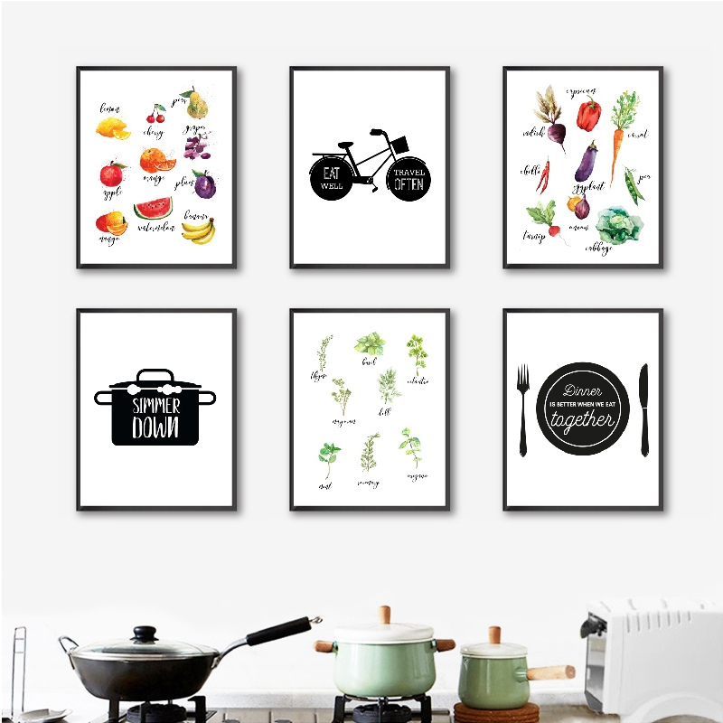Kitchen Typography Wall Art Canvas Posters Print Watercolor Herbs Fruit And Vegetable Painting Wall Pictures Kitchen Decor