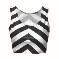 European Fashion Women White and Black Striped 3D Printed Tank Tops Female Short Design Slim Sexy Vest Casual T-shirt