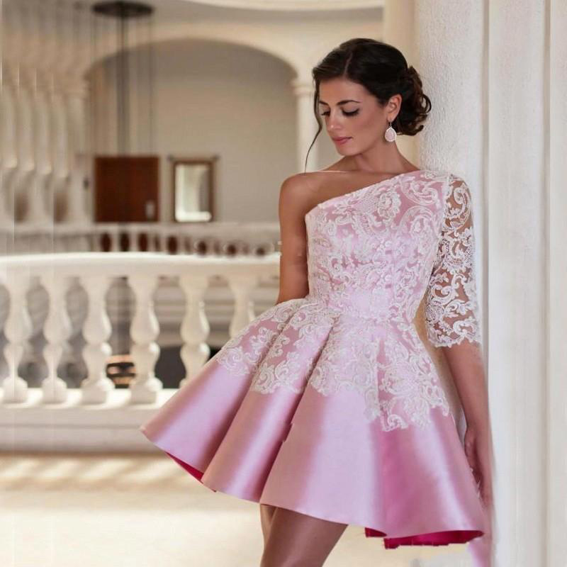 Elegant Pink 2019 Homecoming Gowns A-line One-shoulder Short Sleeves Mini Satin Lace Appliques   Cocktail     Dresses