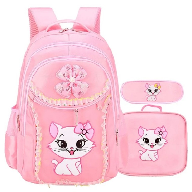 102adce2480f New Children School Bag For Girls Sweet Cat Backpack Lace Lovely Primary  Book Bag Set Kids