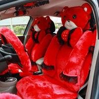 MMBear Cute Cartoon универсальный чехол для автомобильного сиденья плюшевая кружевная подушка для сиденья 9 шт. для женщин автомобильные аксессуары