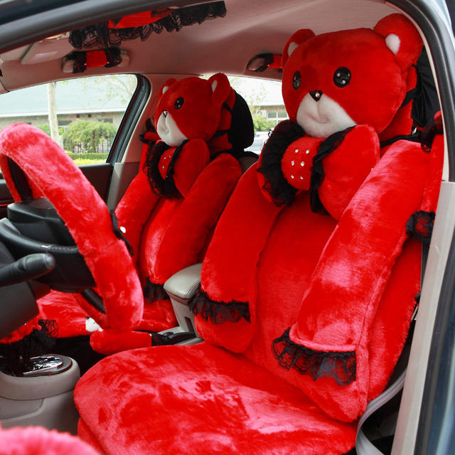 MMBear Cute Cartoon Universal Car Seat Cover Plush Lace Seat Cushion 9pcs for Women Automobile Interior Accessories - Red