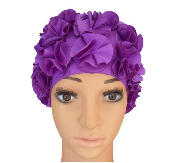 New Women Ladies Vintage Style Floral Flower Adult Swimming Swim Cap Bathing Hat