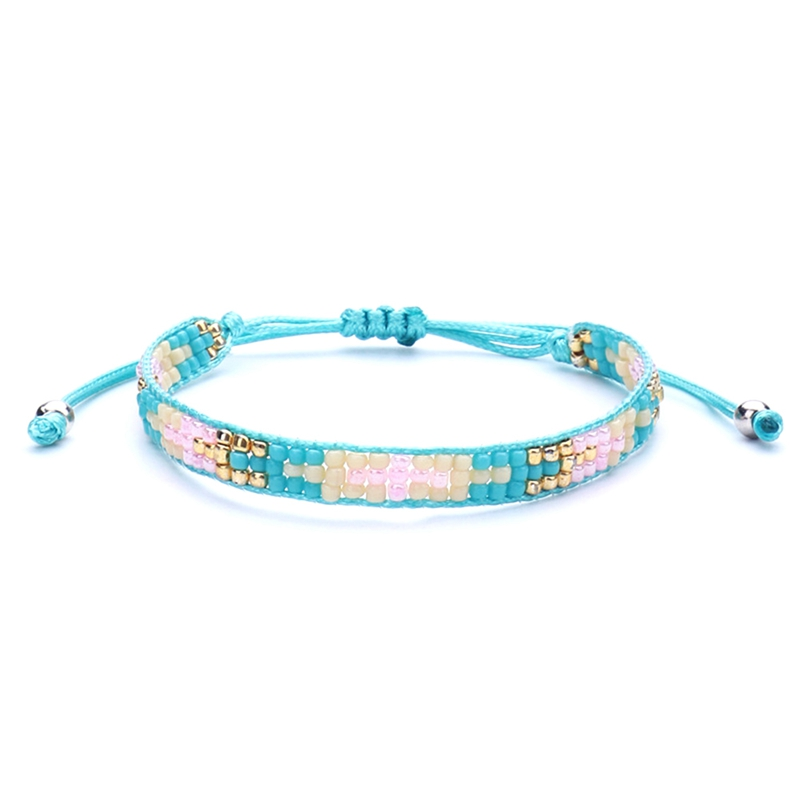 Ethnic Style Colored Beads Braided Bracelet Blue Beads Bracelet Colorful Tassel Charms B ...