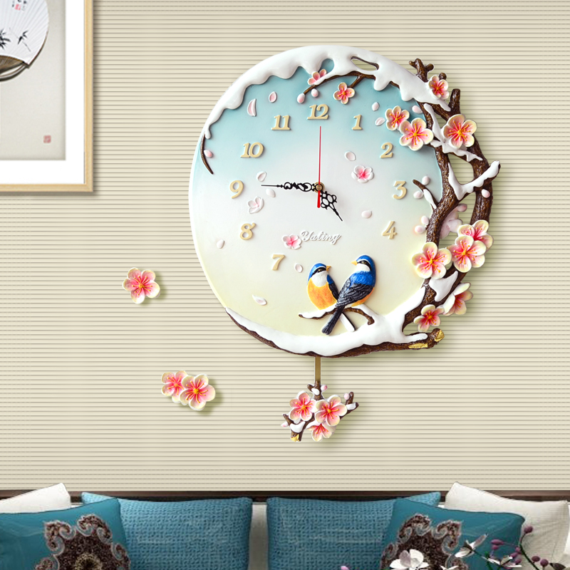 European Pastoral Swing Resin Wall Clocks Home Bedroom Mute Wall Clock Personality 3D Stereo Wall Sticker Mural Decoration Craft