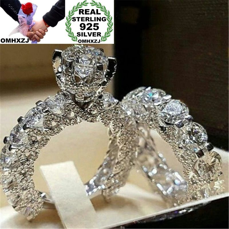 OMHXZJ Wholesale European Fashion Woman Man Party Wedding Gift Silver White Luxury AAA Zircon 925 Sterling Silver Ring Set RR197