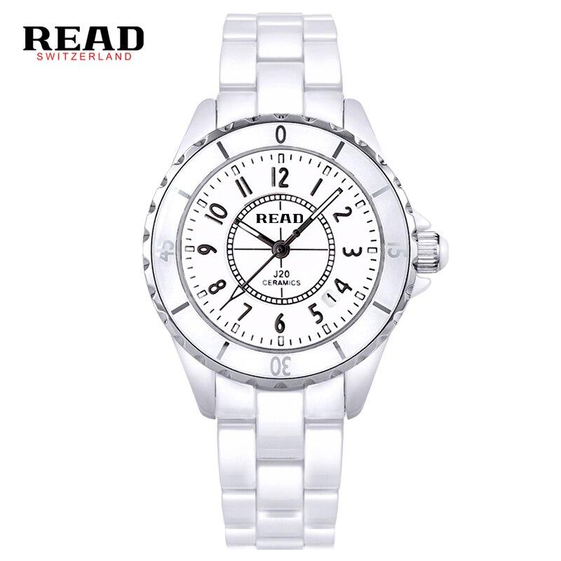 2017 READ Women Fashion Ceramic Watch Luxury Clock Casual Elegant Classic Wristwatch Female Quartz watch Rhinestone watch read watch women watch quartz female da vinci series r7003l