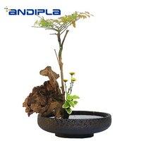 Japanese Flowers Pot Vintage Coarse Pottery Hydroponic Plant Holder / Home Tea Washer Teacup Holder Gardening Vases Decor Craft