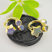 Fashion! 24 kt Gold Color Drusy Quartz Stone Bezel Rings , Star Ring Jewelry Finding 3pcs(China)