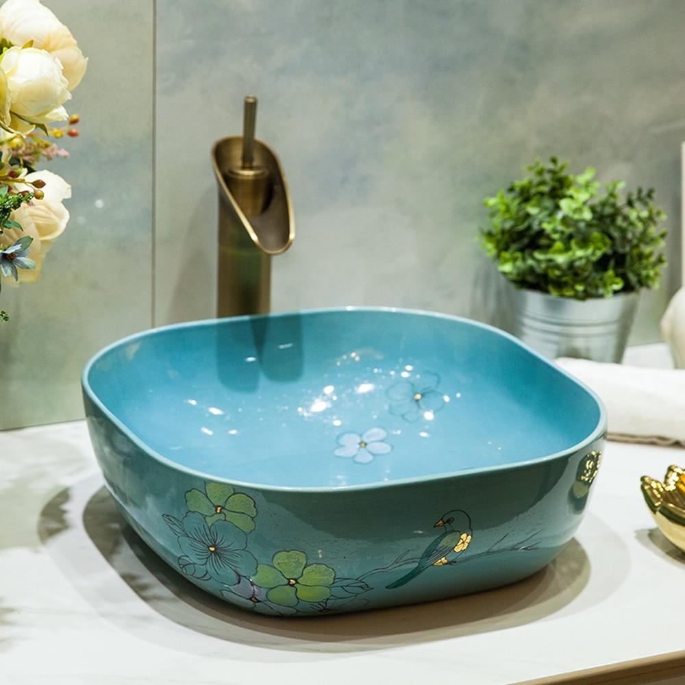 bathroom above counter basin ceramic bathroom vanity bathroom sink basin glaze blue flower bird LO6201128