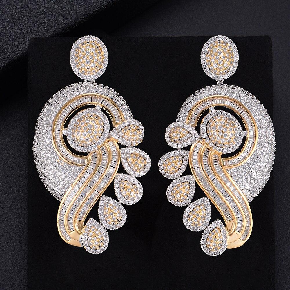 Luxury Three Tones Waterdrop Pierced Geometry Drop Dangle Earrings For Women Wedding Bridal Jewelry