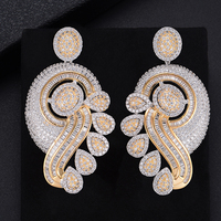 Luxury Three Tones Waterdrop Pierced Geometry Drop Dangle Earrings For Women Wedding Bridal Jewelry