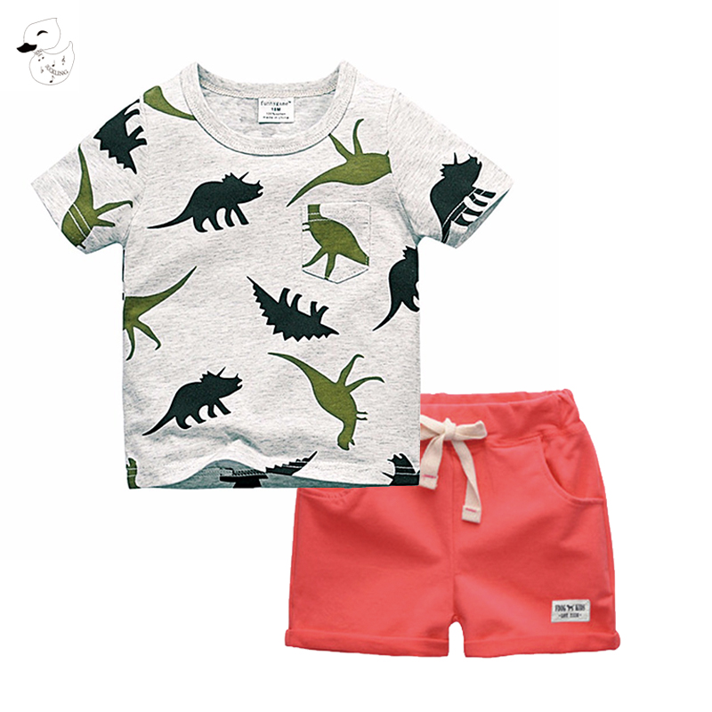 BINIDUCKLING Boys Sets 2018 Children Set Summer Boy Shorts Clothing Cartoon T-Shirt and Pants for Kids Baby Cotton Suit