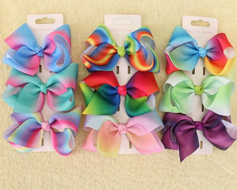 100 pcs Romantic 4 inch Pastel flora ombre Rainbow ribbon hair bows Alligator clips headware hair