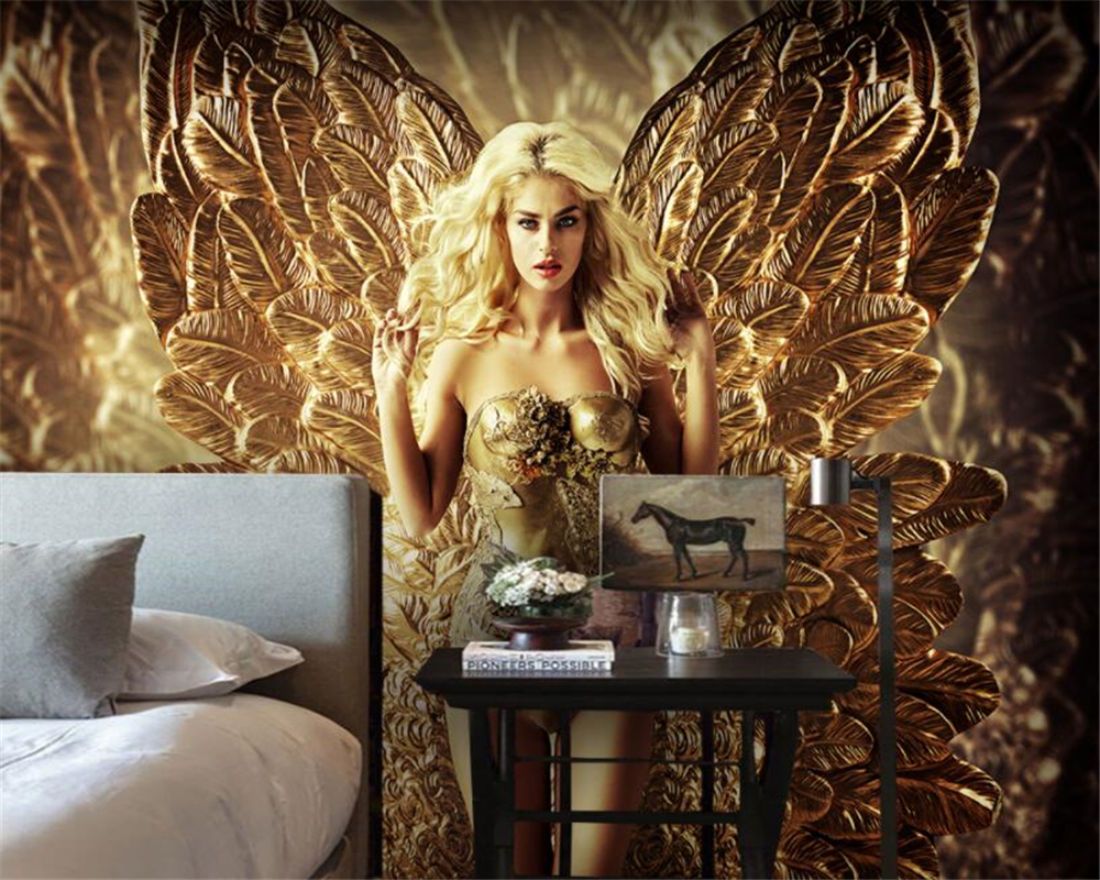 Custom Photo WallPaper mural <font><b>3D</b></font> <font><b>Sexy</b></font> blonde beauty with gold feathers Sofa TV background Seamless Modern painting Beibehang image