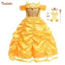 Красивое платье для девочек, платье принцессы с открытыми плечами, Сказочная сказка, косплей, платья для Хэллоуина вечерние детское бальное платье, костюмы, аксессуары